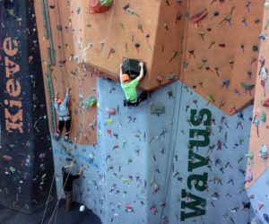 Indoor rock climbing is just one of a number of excitiing activities available for kids at the upcoming school-vacation adventure camp at Kieve-Wavus Feb. 21-24.