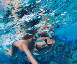 """""""Swimmers,"""" by LA senior Hindley Wang, won a Gold Key Award in the very competitive painting category in the 2017 Scholastic Art Awards."""