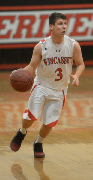 Russell Marr had seven assists in Wiscasset's 80-60 win over Telstar on Jan. 12. (Paula Roberts photo