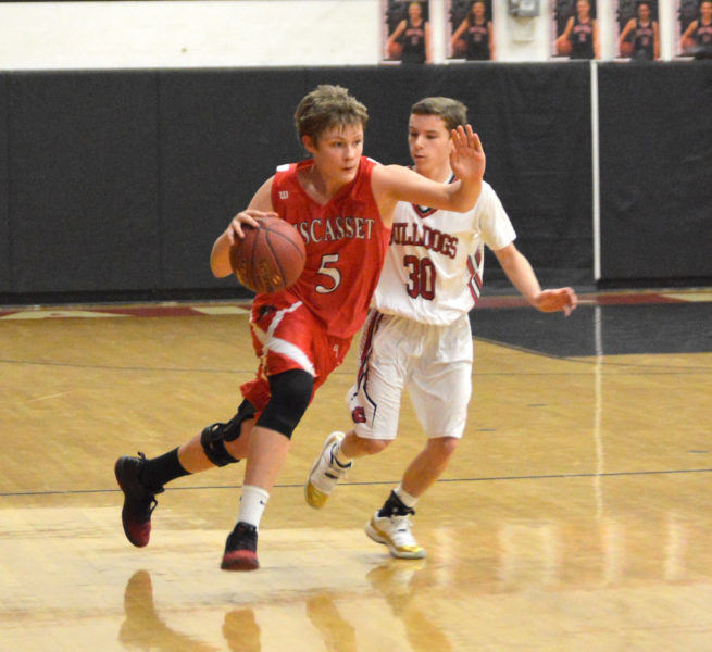 Logan Orr brings the ball up the court for the Wolverines. (Carrie Reynolds photo)