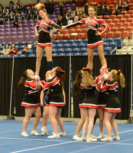 Wiscasset cheerleaders placed fifth at the South Class C Regional championships to qualify for States. (Paula Roberts photo)