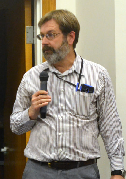 Maine Department of Transportation Region 2 Traffic Engineer David Allen presents the findings from the department's recent review of speed limits along Bristol Road during the Damariscotta Board of Selectmen's meeting Wednesday, Feb. 15. (Maia Zewert photo)