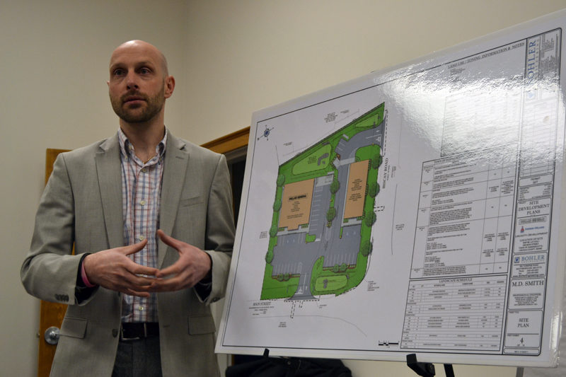 Austin Turner, a civil engineer with Bohler Engineering, discusses Damariscotta DG LLC's application to develop the 1.8-acre property at the intersection of Main Street and Biscay Road during a meeting of the Damariscotta Planning Board on Monday, Feb. 6. The application calls for the construction of a Dollar General and a Sherwin-Williams store. (Maia Zewert photo)