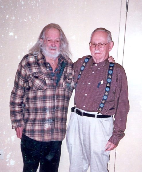 Huston Dodge (left) and Calvin Dodge pose for a photo before a Chats with Champions presentation about the history of the Twin Villages at Skidompha Public Library in Damariscotta on Sept. 9, 2014. (Photo courtesy Calvin Dodge)