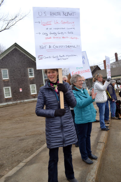 Newcastle resident Kathleen Hogan was one of about 180 people to turn out for a protest focusing on health care issues in the Twin Villages on Saturday, Feb. 25. (Abigail Adams photo)