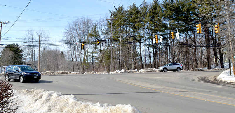 The intersection of Main Street and Biscay Road in Damariscotta. The Damariscotta Board of Selectmen recently expressed concerns about the impact a potential development at the intersection could have on traffic safety. (Maia Zewert photo)