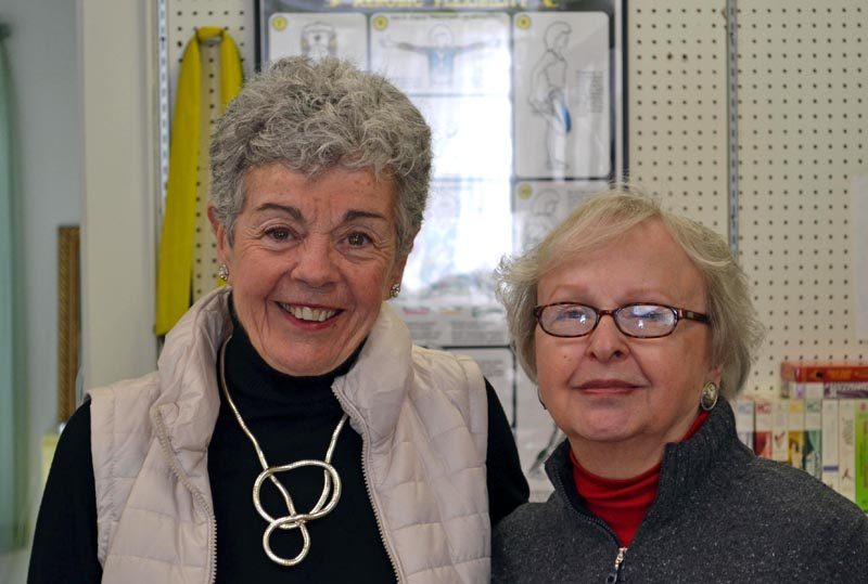 Jeanne Davis (left) and Lil Garcia at Shapers Fitness Gym in Damariscotta on Tuesday, Feb. 14. (Abigail Adams photo)