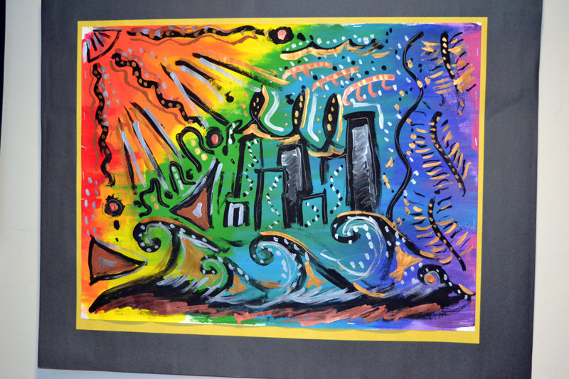 Great Salt Bay Community School student Sunny Cummings' large tempera-paint cityscape is part of a display of student work in The Carey Gallery at Skidompha Public Library in Damariscotta. (Christine LaPado-Breglia photo)