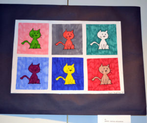 Skyler Houghton's six-panel creation featuring cats in different colors was made using markers. (Christine LaPado-Breglia photo)