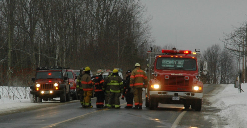 Route 27 in Dresden was temporarily closed while units cleared the scene of a car fire during the afternoon of Sunday, Feb. 12. (Alexander Violo photo)