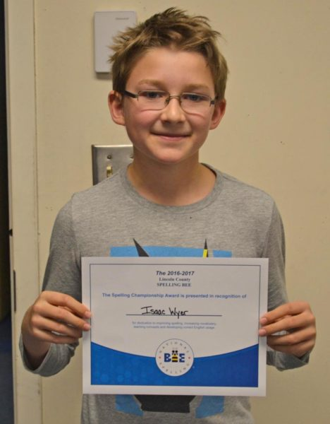 Bristol Consolidated School seventh-grader Isaac Wyer is the 2017 Lincoln County Spelling Bee champion. (Abigail Adams photo)