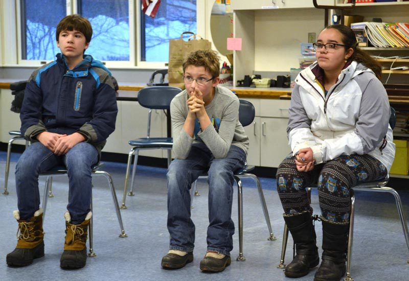 From left: James Usher, Isaac Wyer, and Julia Palmer compete in the Lincoln County Spelling Bee at Bristol Consolidated School on Wednesday, Feb. 15. (Abigail Adams photo)