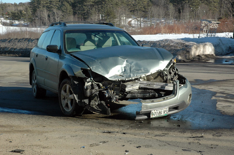 A Subaru station wagon was damaged in a three-car accident at the intersection of Route 1 and East Pond Road in Nobleboro the afternoon of Monday, Feb. 20. (Alexander Violo photo)