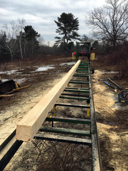 The sawmill at East Forty Farm and Dairy in Waldoboro cuts beams up to 36 feet long. (Photo courtesy Allison Lakin)
