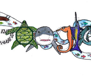 """Medomak Middle School seventh-grader Ruth Havener won the Doodle 4 Google statewide competition with """"The Same Ocean in the Future."""""""