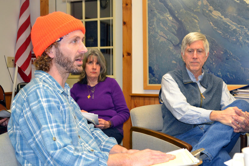 Kyle DePietro and Jeff Tarbox discuss their plans for a craft brewery during a meeting of the Westport Island Board of Selectmen at the town office Monday, Jan. 30. (Charlotte Boynton photo)
