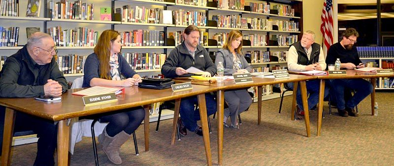 From left: Wiscasset School Committee members Eugene Stover and Chelsea Taylor, Chair Michael Dunn, Wiscasset School Department Superintendent Heather Wilmot, and committee members Glen Craig and Jason Putnam attend a committee meeting at Wiscasset Middle High School on Thursday, Jan. 26. (Abigail Adams photo)