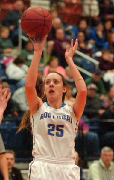 Boothbay's Nicole Clarke fires up a jumper in the South C semi-finals. (Carrie Reynolds photo)