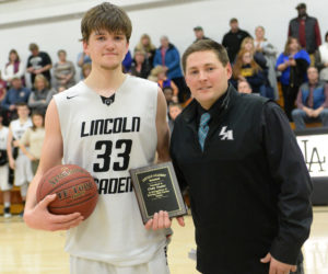 """<span class=""""entry-title-primary"""">LA senior Cody Tozier scores his 1,000th career point</span> <span class=""""entry-subtitle"""">Feb. 2 at Lincoln Academy</span>"""