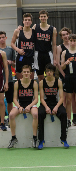 Lincoln Academy boys won the KVAC Class b boys 4x800 relay. Team members are (front from leftL Nolen Michael, Tiger Cumming, (back) Gus Hunt and Taylor Holmes. (Paula Roberts photo)