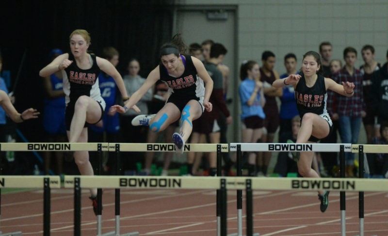 LIncoln Academy swept the top three spots in the KVAC 55 hurdles. Emily Harris (center) took first, Olivia Richmond second (left0 and Emma Allen third. (Paula Roberts photo)