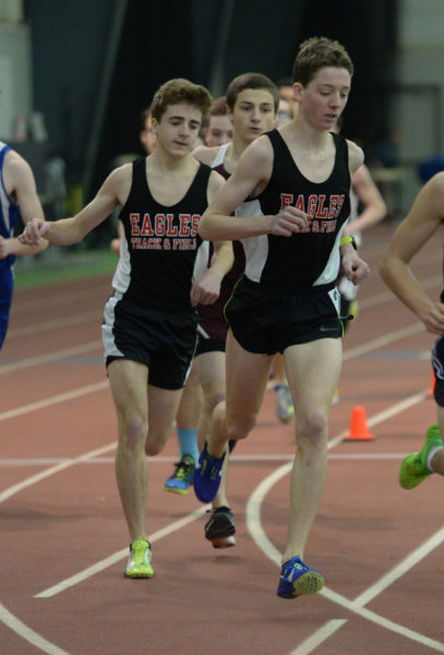 Sam Russ won the two mile and placed second in the mile, and Eagle teammate David Barnum placed second in the two mile and third in the mile at the KVAC championships. (Paula Roberts photo)