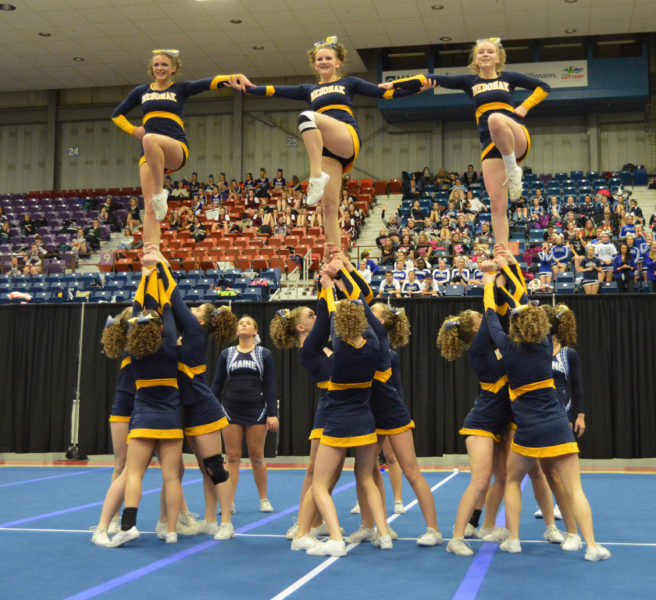 Medomak Valley cheerleaders perform at the State Class B cheering championships at the Augusta Civic Center on Feb. 11. (Carrie Reynolds photo)