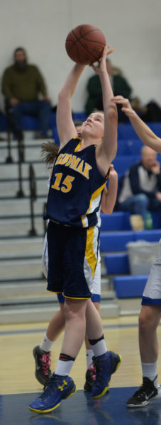 Kayla Donlin takes a shot in the Lady Panthers win at Morse on Feb. 3. (Paula Roberts photo)