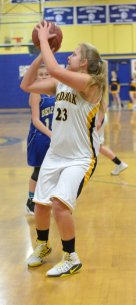 Medomak senior Chelsea Ripley takes a shot in the Panthers win over Belfast on Feb. 10 in Waldoboro. (Paula Roberts photo)