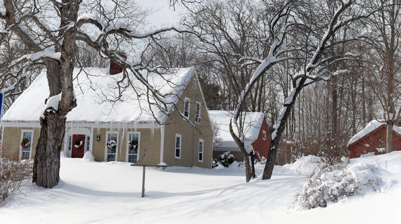 Icicles and snow adorn a Newcastle home after Monday's snowstorm. (Paula Roberts photo)
