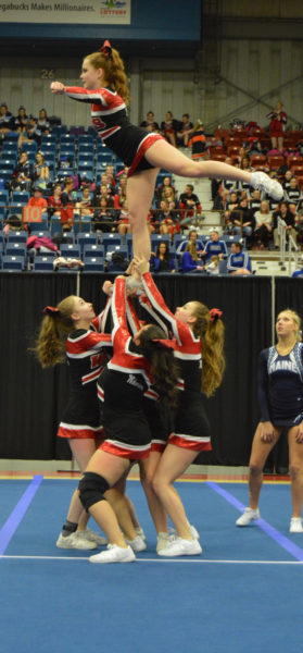 Wiscasset cheerleaders perform at the State Class C championships at the Augusta Civic Center on Feb. 11 (Carrie Reynolds photo)