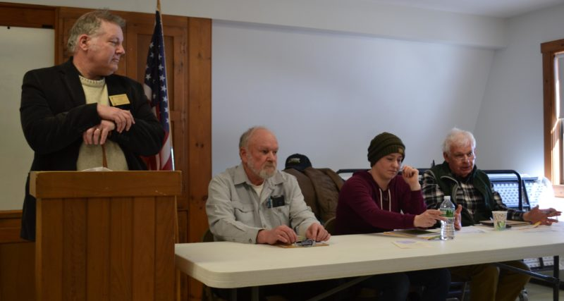 From left, moderator Carl Pease and selectmen Doug Abbott, Melissa Spinney, and Doug Baston oversee Alna's annual town meeting on Saturday, March 18. (Abigail Adams photo)