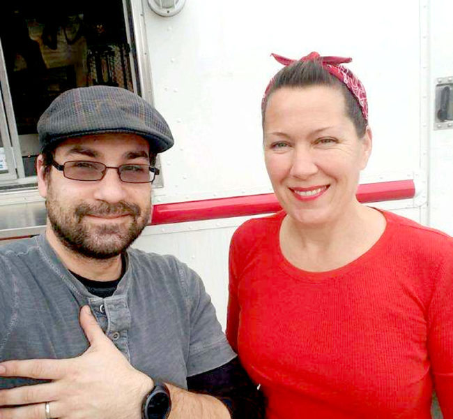 Damariscotta native Colin Frey and his wife, Dawn McKenna Frey, stand in front of their food truck, Burgers & Freys. The Freys, of Gardiner, will visit Damariscotta with the truck Saturday, March 18. (Photo courtesy Colin Frey)