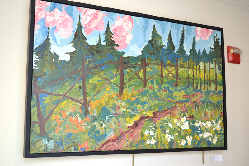 """""""In the Garden"""" is one of a number of large landscape paintings by Belfast artist Jon Byrer on display in The Carey Gallery at Skidompha Public Library in Damariscotta. (Christine LaPado-Breglia photo)"""