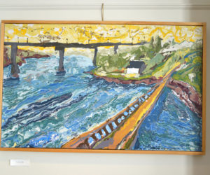 """Belfast Bridges"" is one of the paintings in Jon Byrer's exhibit on the walls of The Carey Gallery at Skidompha Public Library through Sunday, April 30. (Christine LaPado-Breglia photo)"