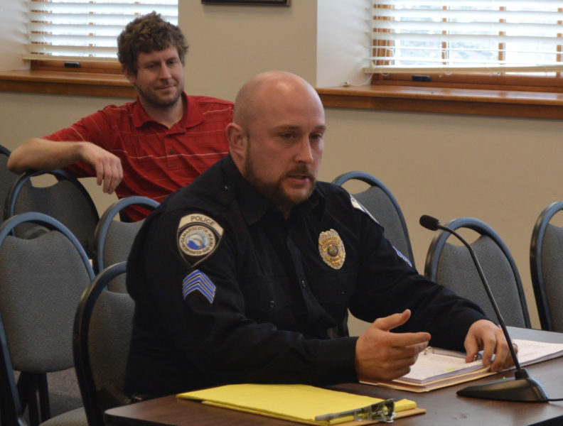 Interim Damariscotta Police Chief Jason Warlick addresses the Damariscotta Board of Selectmen on Wednesday, March 15. (Maia Zewert photo)