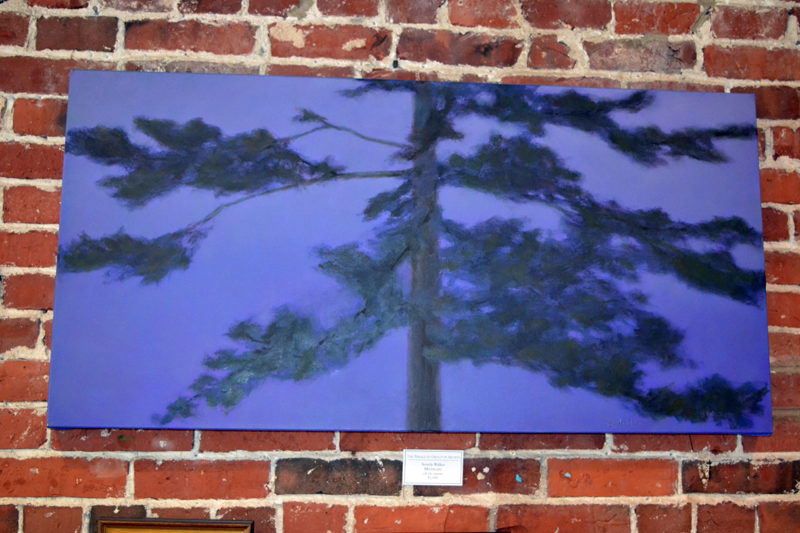 """Beverly Walker's large oil painting titled """"Midnight"""" is one of numerous landscape paintings on display at the Damariscotta River Grill as part of the Pemaquid Group of Artists' show running through Tuesday, March 21. (Christine LaPado-Breglia photo)"""