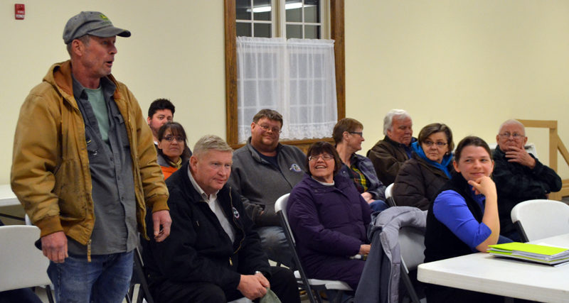 Dresden resident Richard Hughes (far left) speaks in favor of Sue Bailey's application to build a veterinary clinic at 514 Gardiner Road during the Dresden Planning Board's Tuesday, March 7 meeting. (Maia Zewert photo)