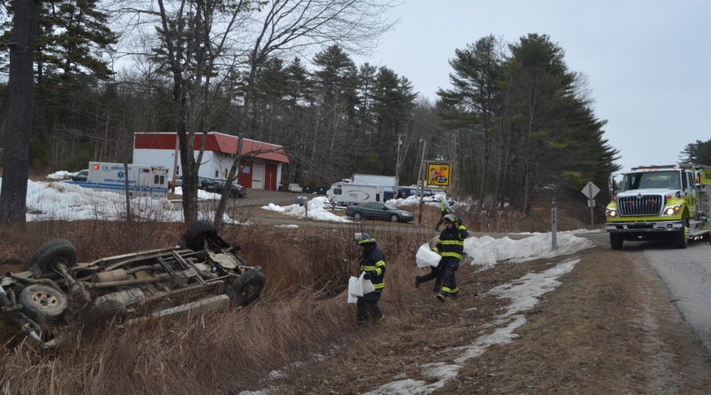 Central Lincoln County Ambulance Service, the Lincoln County Sheriff's Office, and the Newcastle Fire Department responded to a single-vehicle accident on Route 1 in Newcastle the afternoon of Friday, March 31. (Maia Zewert photo)