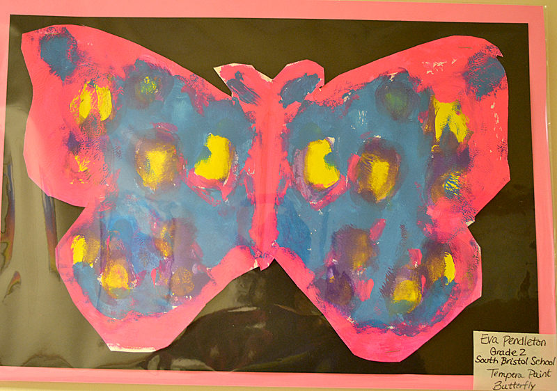 South Bristol School second-grader Eva Pendleton created this brightly colored tempera-paint butterfly. (Christine LaPado-Breglia photo)