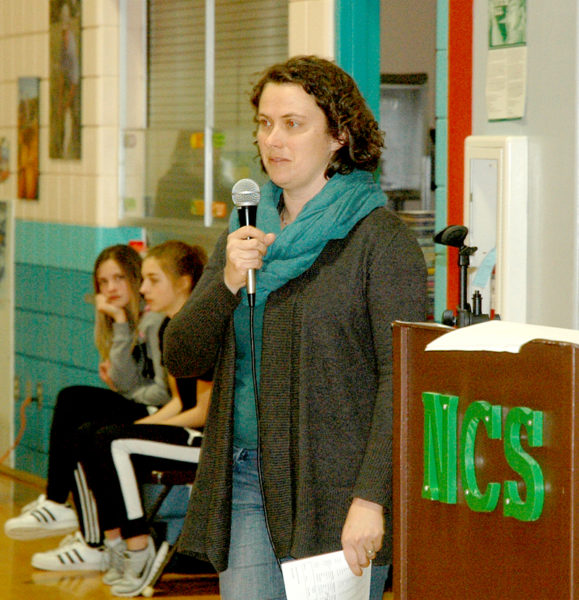 Nobleboro School Committee Chair Hilary Peterson discusses the education budget during the annual town meeting Saturday, March 18. (Alexander Violo photo)