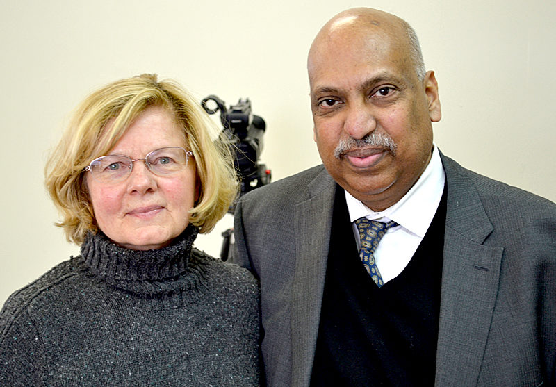 Jeanette Wheeler and Dr. Punyamurtula Kishore at the National Library of Health and Healing in Waldboro on Feb. 8. Kishore established the library with Wheeler's support. (Abigail Adams photo)