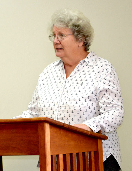 Waldoboro Selectman Katherine Winchenbach addresses a crowd in attendance for a lecture about fentanyl at the National Library of Health and Healing in Waldoboro on Feb. 8. (Abigail Adams photo)