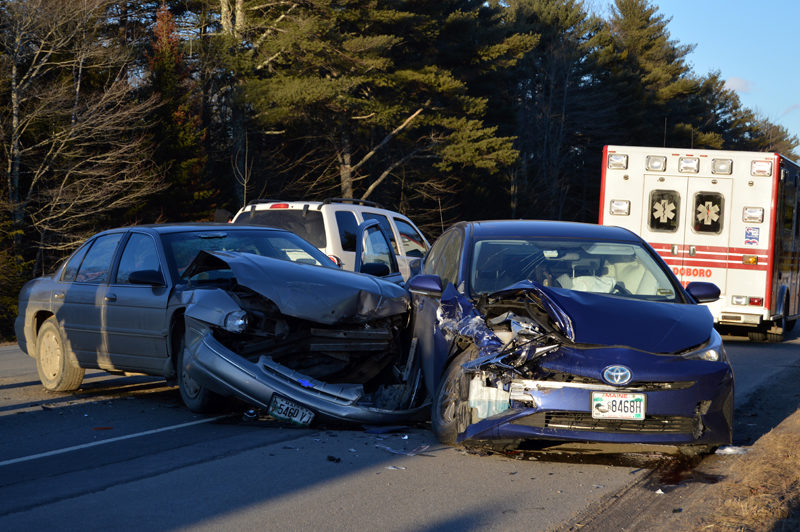 A two-car collision on Route 1 in Waldoboro the afternoon of Friday, March 3. The driver of the Chevrolet was exiting the parking lot of General Tire and did not yield to the driver of the Toyota, according to police. (Greg Latimer  photo)