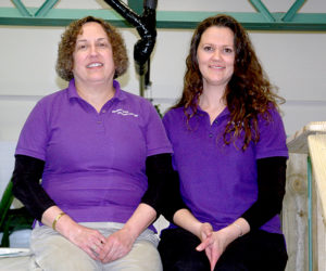 Sheepscot Bay Physical Therapy owner Jean Beattie (left) and Physical Therapy Assistant Margo O'Neal by the center's endless pool. (Alexander Violo photo)
