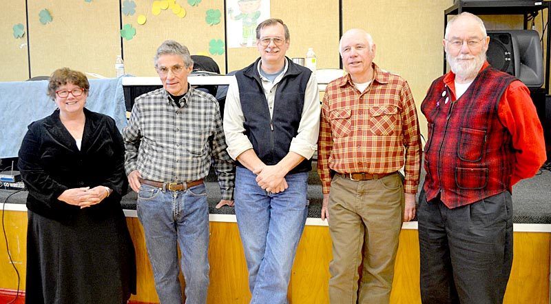 The Whitefield Board of Selectmen attends the annual town meeting Saturday, March 18. From left: Sue McKeen, Tony Marple, Lester Sheaffer, Dennis Merrill, and Frank Ober. (Maia Zewert photo)