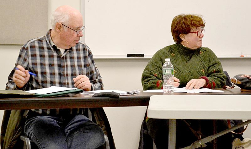 Dennis Merrill and Sue McKeen attend one of their last meetings of the Whitefield Board of Selectmen on Feb. 28. (Abigail Adams photo)