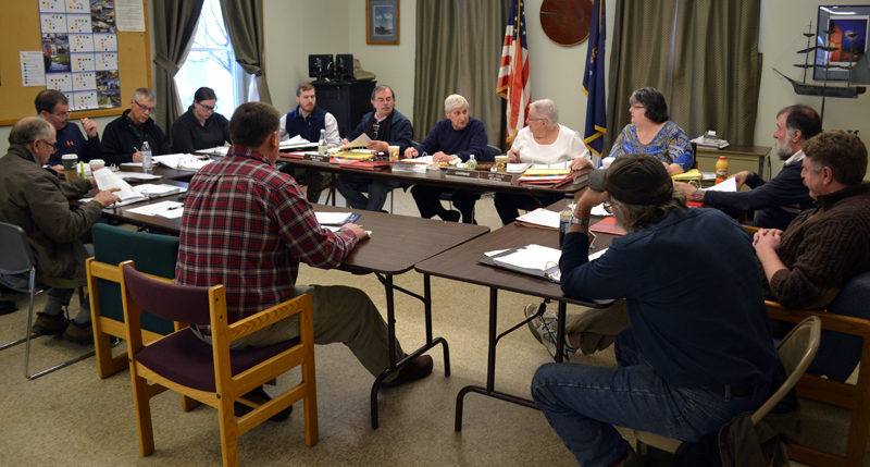 The Wiscasset Board of Selectmen and Wiscasset Budget Committee meets with department heads for a first look at the 2017-2018 budget Saturday, Feb. 25. (Abigail Adams photo)