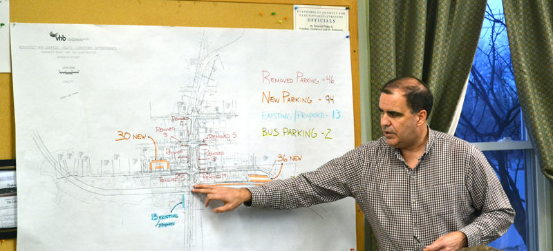 Maine Department of Transportation Project Manager Ernie Martin reviews the parking proposal for Wiscasset's downtown traffic project with the Wiscasset Public Advisory Committee on Monday, Feb. 27. (Abigail Adams photo)