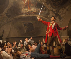 "Luke Evans as Gaston in a scene from Walt Disney Studios' new live-action movie ""Beauty & the Beast."" The movie is playing for its final week at The Harbor Theatre in Boothbay Harbor."